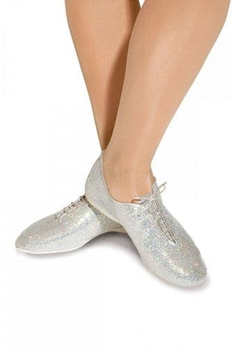 Roch Valley Lace up full sole jazz shoe silver holographic