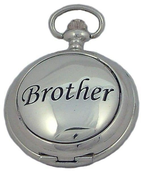 'Brother' Pocket Watch Silver Hunter Quartz Pewter Cover Gift Family Present A E Williams