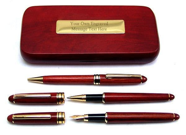 3 Rosewood Pen Box  Set  Ballpoint Pencil Fountain Pen Personalised
