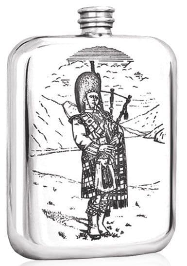 Pewter 6oz Scottish Highland Piper Hip Flask Perfect Scottish Souvenir