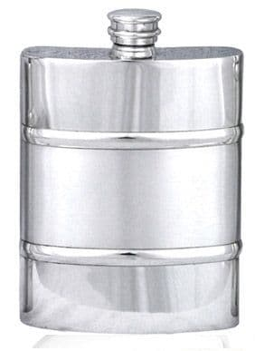 Two Tone Twin Banded Pewter Hip Flask  6oz Made in Britain