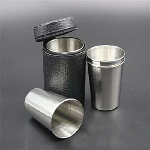 Case 4 X-L Steel Stirrup Cups, 85mm Hip Flask Tot Cup Camping Picnic Travel Gift