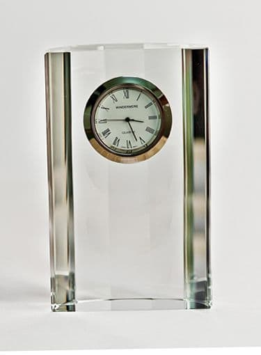 Curved Back Desk Mantel Clock - Hand Cut Lead Crystal Glass 5