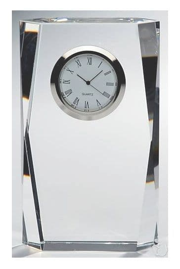"Faceted Corners 24% Lead Crystal Glass Desk Mantel Clock - 5"" 12.5cm ENGRAVED FREE"