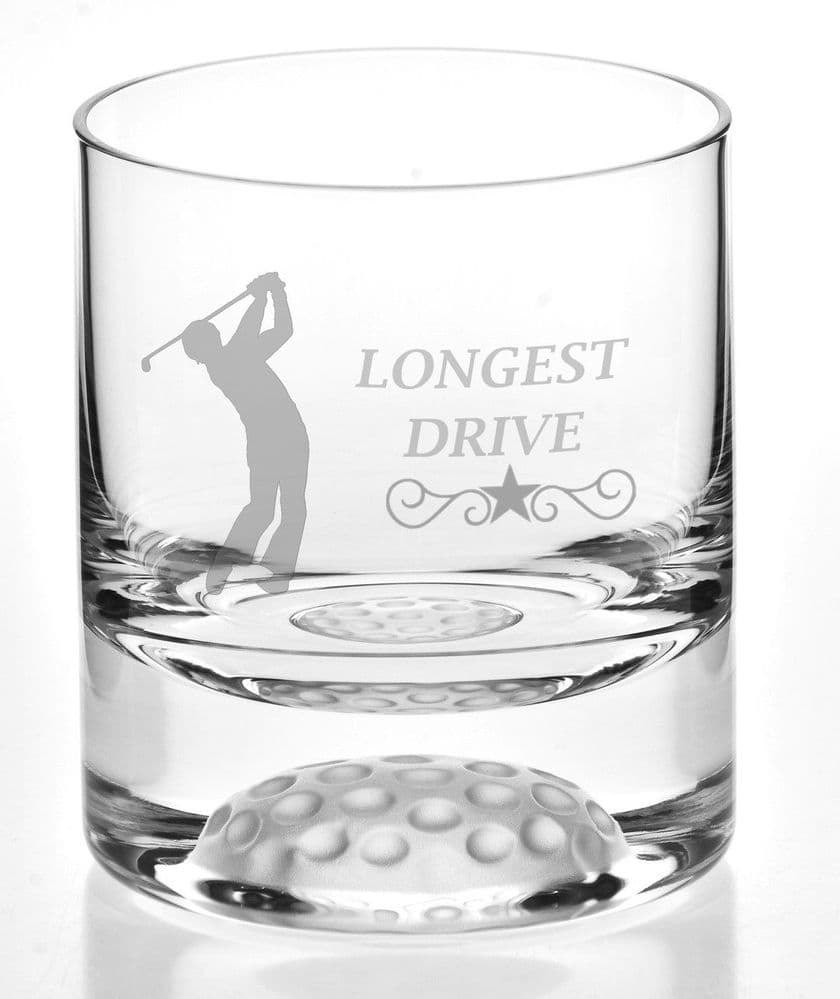 Golfers Longest Drive Bubble Base Whisky Glass 24% Lead Crystal - Golf Prize Trophy ENGRAVED FREE