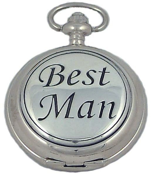 Mans Wedding 'Best Man' Pewter Cover Quartz Hunter Pocket Watch By A E Williams 5 Year Guarantee