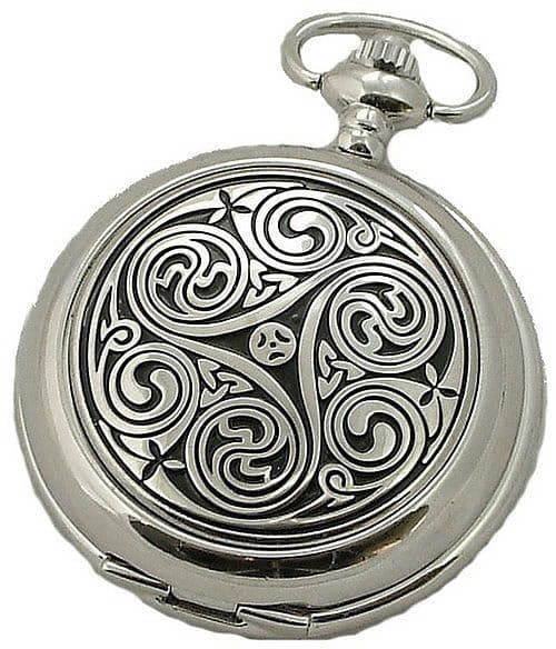 Mens Celtic Triskele Swirl Pewter Cover Quartz Silver Hunter Pocket Watch Handsome Gift A E Williams