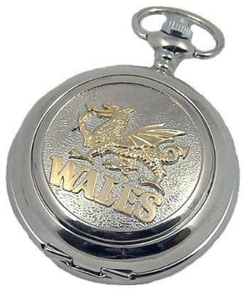 MENS GOLD WELSH DRAGON 'WALES' POCKET WATCH Quartz Silver Hunter Perfect Gift A E WILLIAMS