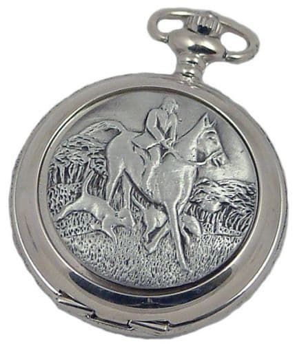 Mens Horse Hounds Hunting Pocket Watch 5 Year Quartz Hunter  A E Williams ENGRAVING OFFER