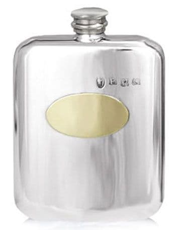 Pewter & Brass Escutcheon Plate 6oz Hip Flask with Pewter Hall Mark