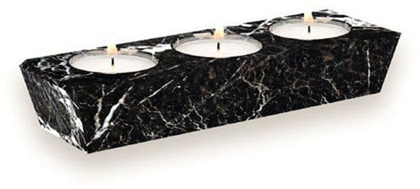 Three Tealight Candle Holder Rectangular Black Marble