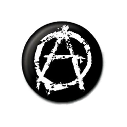 Anarchy White Sign Logo Button Badge