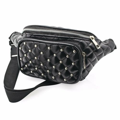 Black Padded Stud Faux Leather Bum Bag