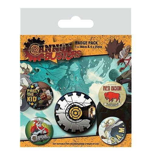 Cannon Busters Fully Loaded Button Badge Pack