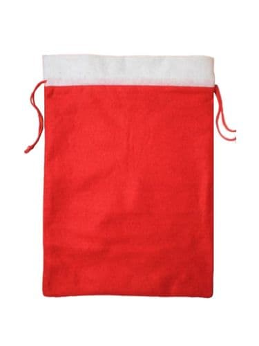 Christmas Festive Red White Trim Felt Gift Bag