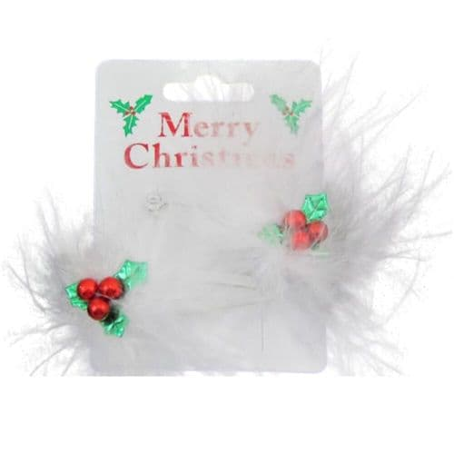 Christmas Holly Leaf and Feather Hair Clip Bendies