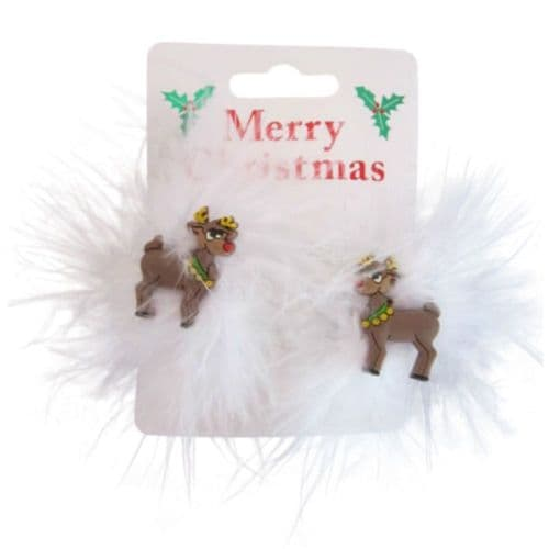 Christmas Reindeer and Feather Hair Clip Bendies
