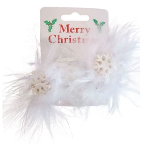 Christmas Snowflake and Feather Hair Clip Bendies