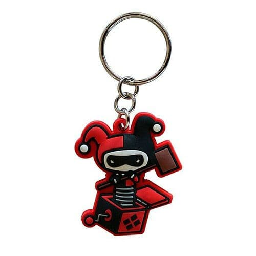DC Comics Harley Quinn Jack In The Box Keyring Rubber Keychain Fob