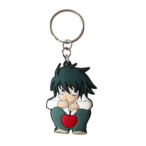 Death Note L Character Keyring Rubber Keychain Fob