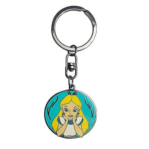 Disney Alice In Wonderland Alice Disc Keyring Metal Keychain Fob
