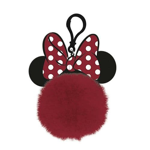 Disney Minnie Mouse Ears Bow Pom Pom Keyring Keychain Fob