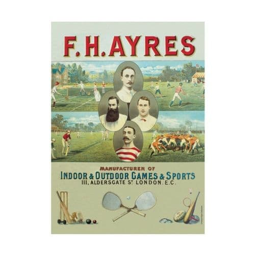 F H Ayres Games Sports Vintage Advert Tin Sign A5 Wall Plaque