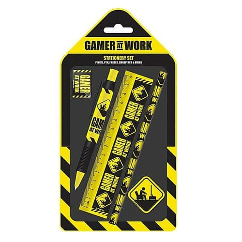 Gamer At Work Caution Sign 5 Piece Stationery Set