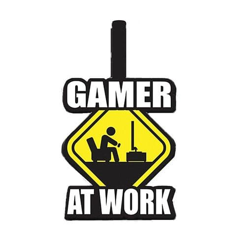 Gamer At Work Caution Sign PVC Luggage Tag Label