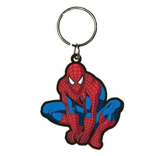 Marvel Comics Spider-Man Crouch Keyring Rubber Keychain Fob