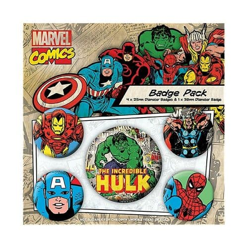 Marvel Comics The Incredible Hulk Button Badge Pack