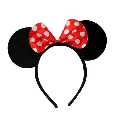 Minnie Mouse Red Spot Sparkly Ears Alice Hair Band