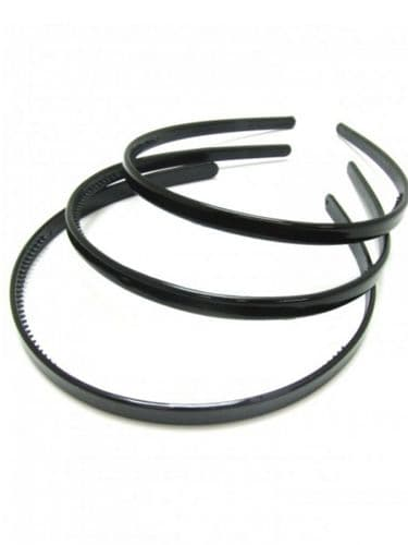 Narrow Black Alice Hair Bands - Set of 3
