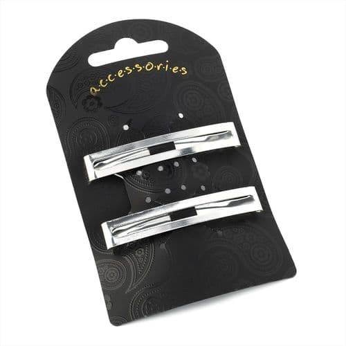 Pair of Open Rectangle Unsprung Hair Barrette Clips