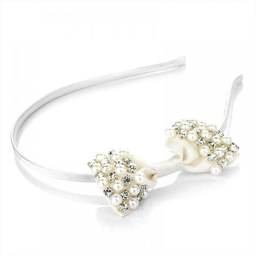 Pearl and Crystal Design Bow Alice Hair Band