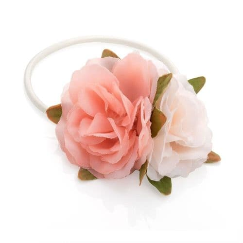 Pink Beige Tone Double Rose Flower Hair Elastic Bobble