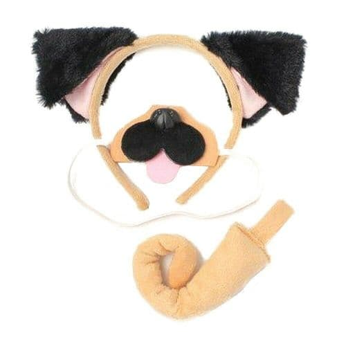 Pug Dog Ears Hair Band, Nose and Tail Set