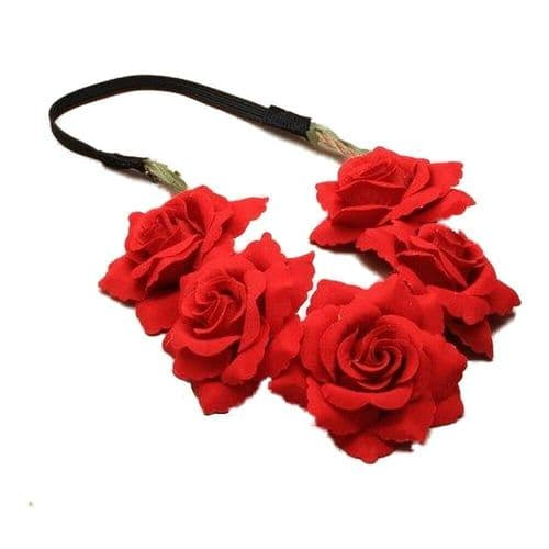 Red Rose Flower Motif Elastic Headband
