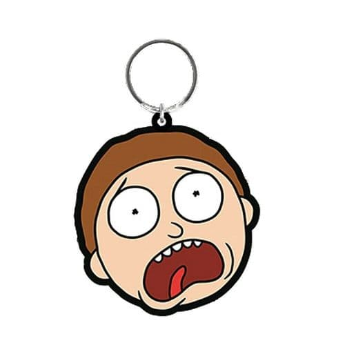 Rick and Morty Terrified Face Keyring Rubber Keychain Fob