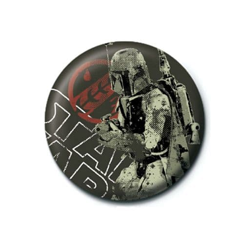 Star Wars Boba Fett Distressed Button Badge