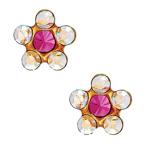 Studex Sensitive AB and Rose Crystal Daisy Gold Plated Earrings