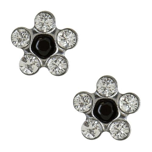 Studex Sensitive Clear and Jet Black Crystal Daisy Steel Earrings
