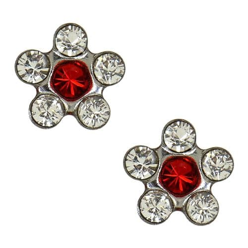 Studex Sensitive Clear and Ruby Crystal Daisy Steel Earrings
