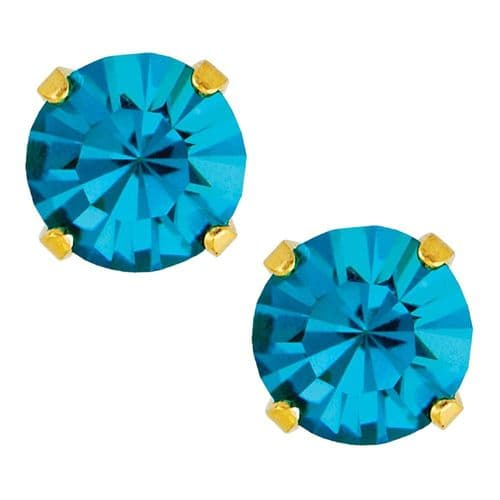 Studex Sensitive December Blue Zircon Gold Plated Claw Set Earrings