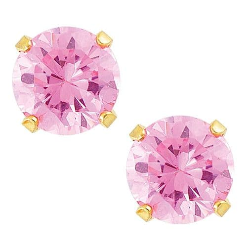 Studex Sensitive Pink Cubic Zirconia Gold Plated Claw Set Earrings