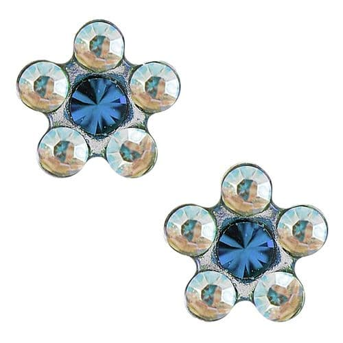 Studex Tiny Tips AB and Aquamarine Crystal Daisy Stainless Steel Earrings