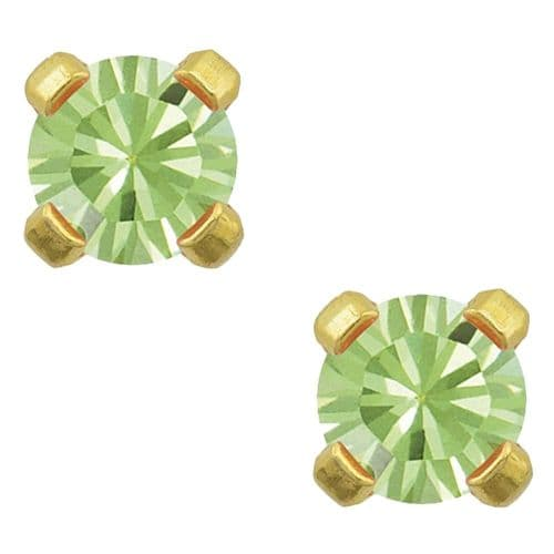 Studex Tiny Tips August Peridot CZ 3mm Gold Plated Earrings