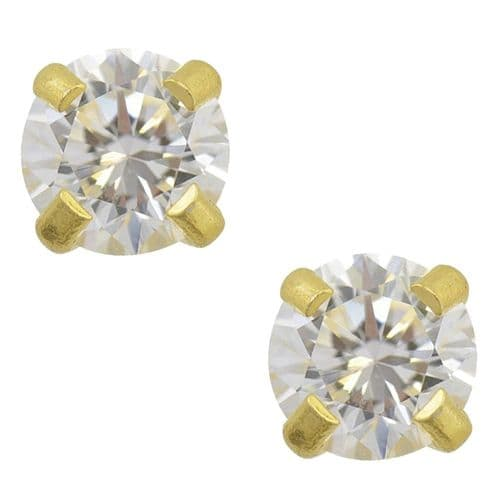 Studex Tiny Tips Cubic Zirconia 4mm Claw Set Gold Plated Earrings