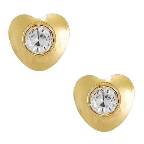 Studex Tiny Tips Heart and Crystal Gold Plated Stud Earrings