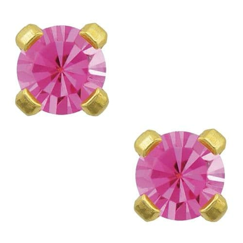 Studex Tiny Tips October Rose CZ 3mm Gold Plated Earrings